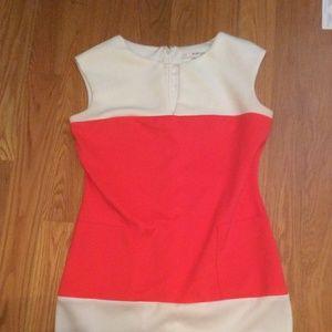8 Orange White Striped Dress with Pockets V-Cut